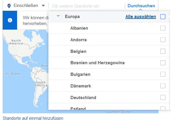 Laender Kontinente Targeting Facebook