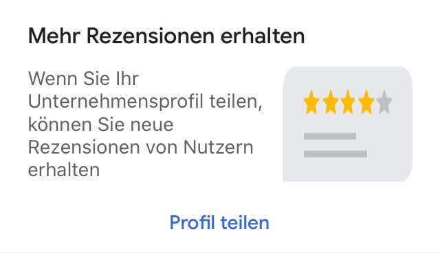Screenshot 'Mehr Bewertungen erhalten' in Google MyBusinessApp