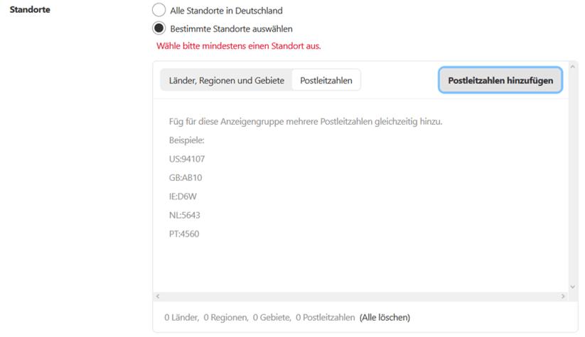 Targeting für Pinterest Ads: Auswahl der Standorte auf Postleitzahlen-Ebene (PLZ)
