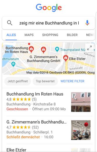 Screenshot Lokale Sprachsuche digital lokal