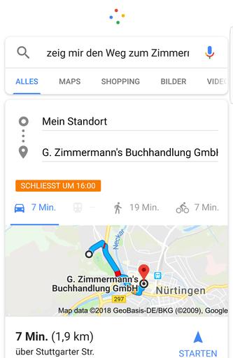 Screenshot Lokale Sprachsuche und Google Maps digital lokal