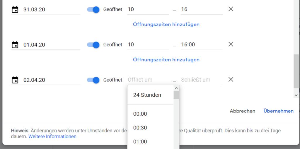 Screenshot: Spezielle Öffnungszeiten einstellen in Google MyBusiness