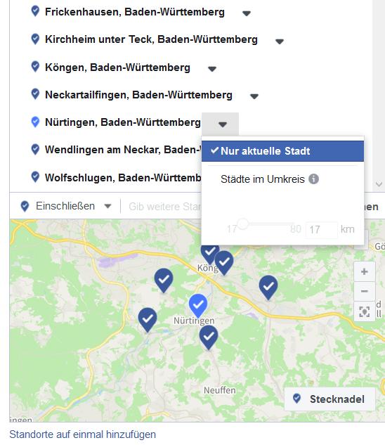 Staedte PLZ Targeting Facebook