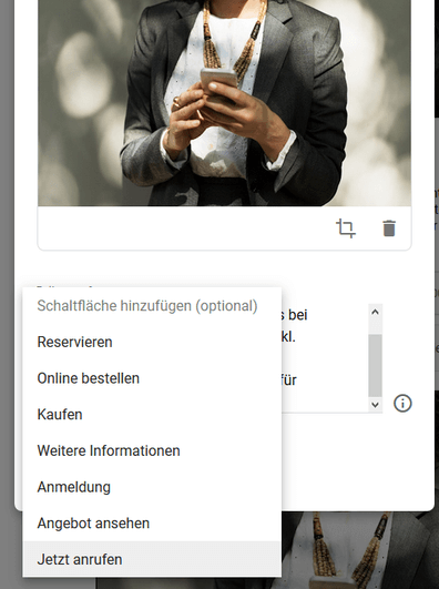 call to action button in google mybusiness post hinzufuegen