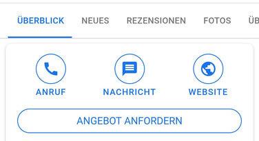 screenshot des buttons angebot anfordern in der mobilen google suche