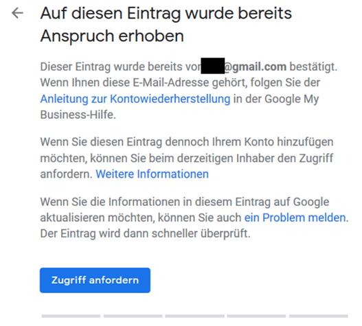 so kann man zugriff auf seinen google eintrag anfordern