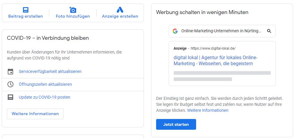 Google AdWords Express ueber Google My Business anmelden Schritt 1