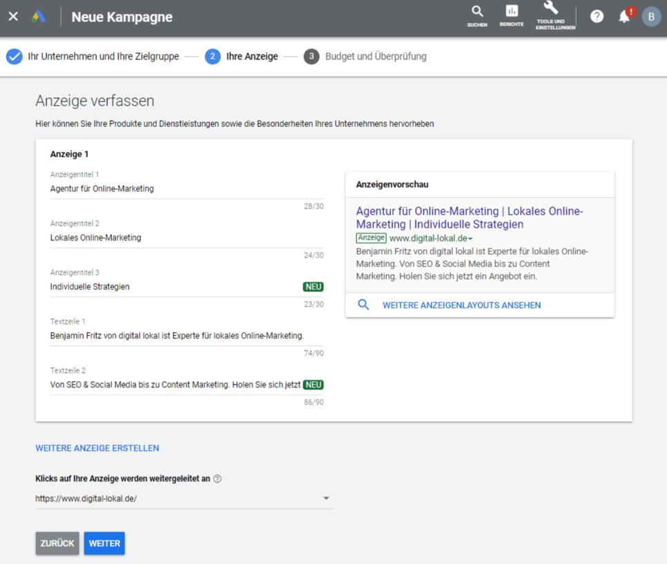 Google AdWords Express ueber Google My Business anmelden Schritt 5 Anzeige