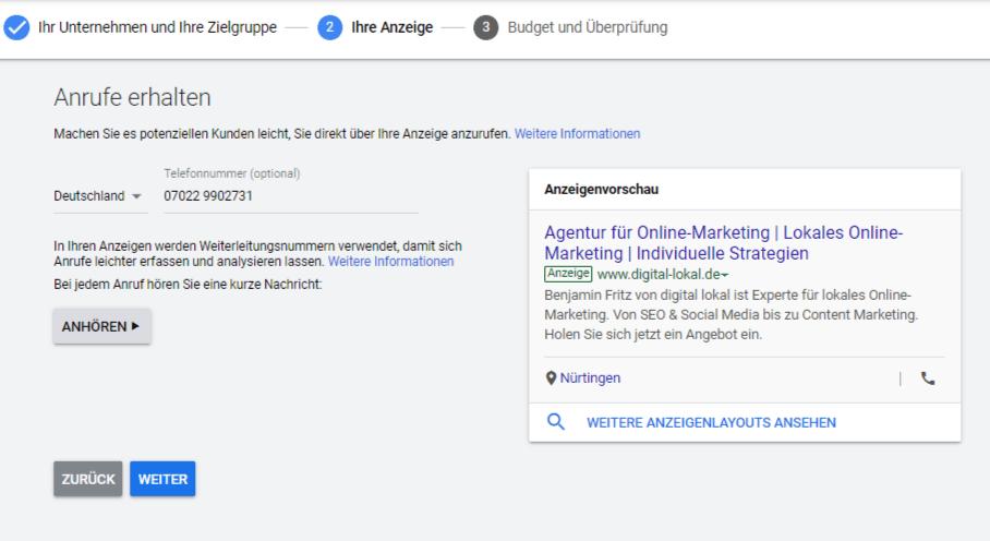Google AdWords Express ueber Google My Business anmelden Schritt 6 Conversions