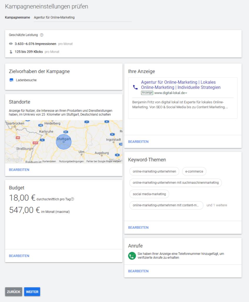 Google AdWords Express ueber Google My Business anmelden Schritt 8 Zusammenfassung