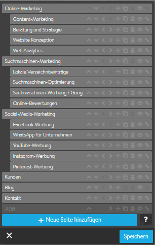 Screenshot Navigation bearbeiten Jimdo