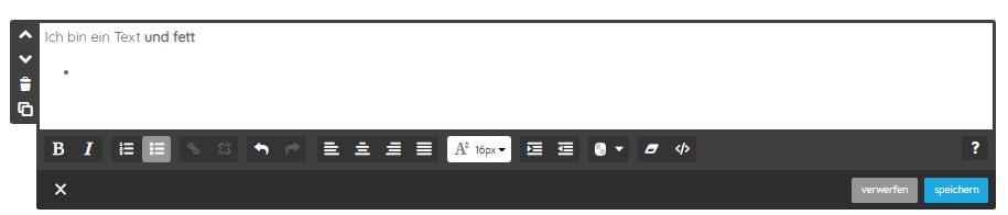 Screenshot Textfeld Jimdo