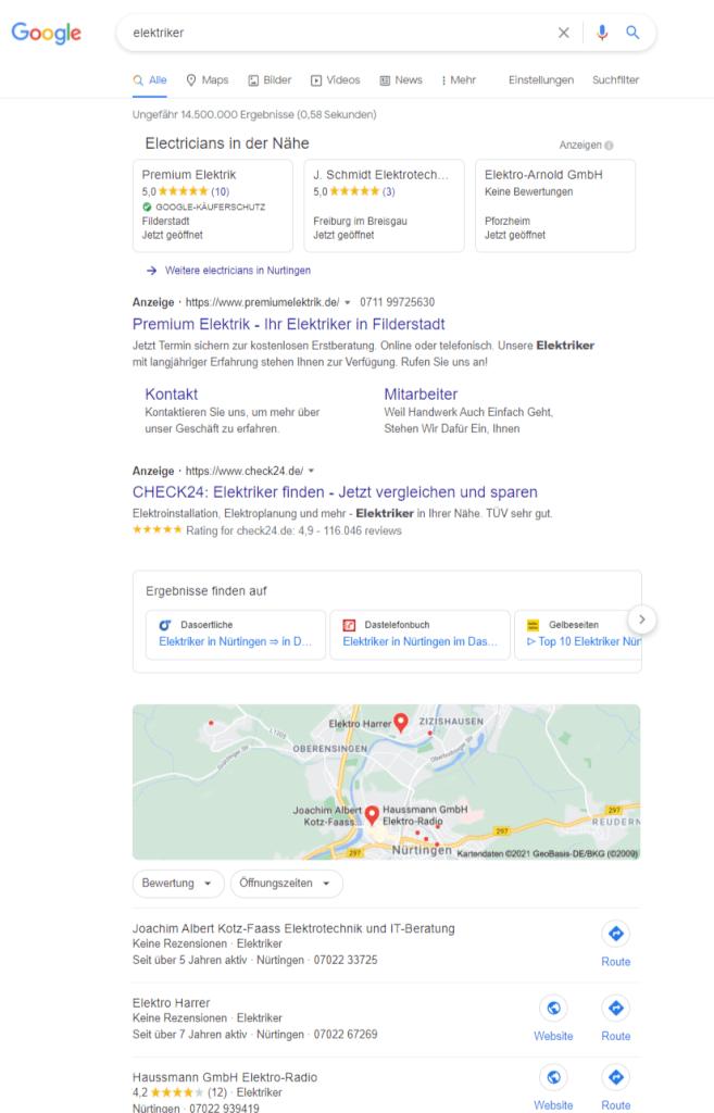 Anzeigen für Google Lokale Dienstleistungen Desktop