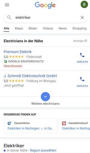 Anzeigen für Google Lokale Dienstleistungen auf dem Smartphone