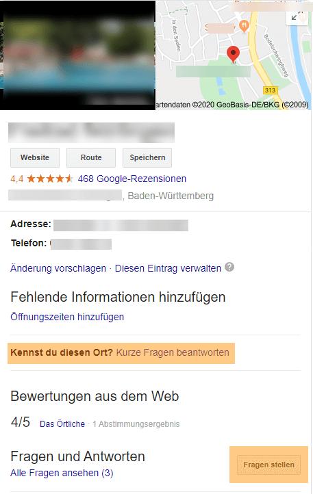 Fragen in Google My Business