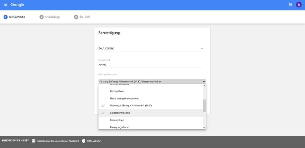 Google lokale Dienstleistungen Anmeldung Schritt1