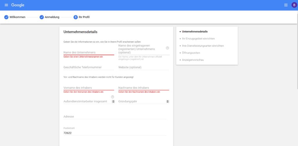 Google lokale Dienstleistungen Anmeldung Schritt2