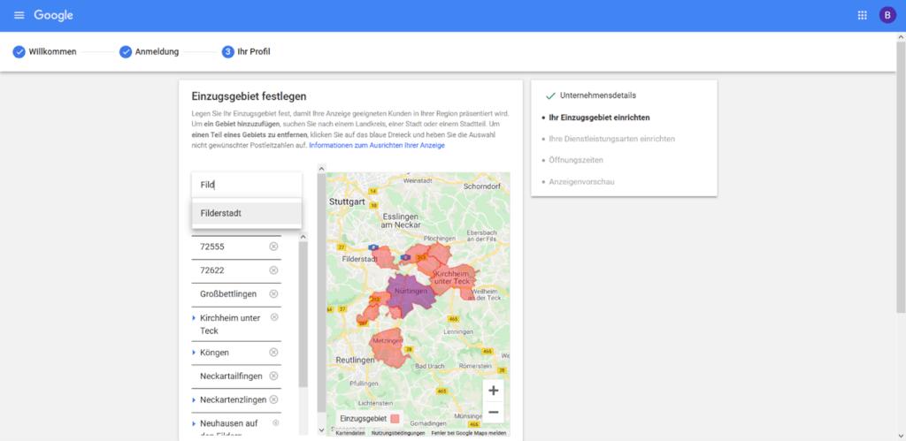 Google lokale Dienstleistungen Anmeldung Schritt3