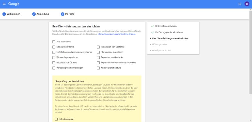 Google lokale Dienstleistungen Anmeldung Schritt4