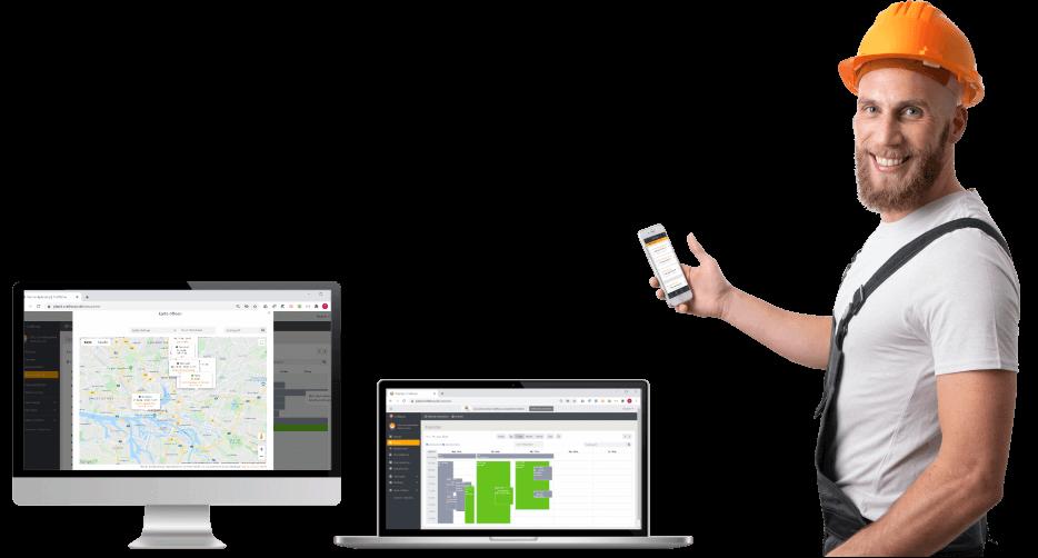Bildschirm mit Navigations, Laptop mit kalneder, Mann mit App