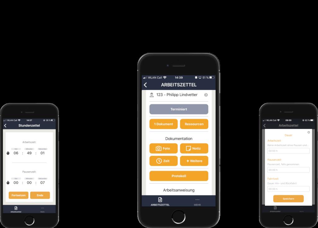 Die Appf ür Handwerker auf smartphone, Laptop und Bildschirm