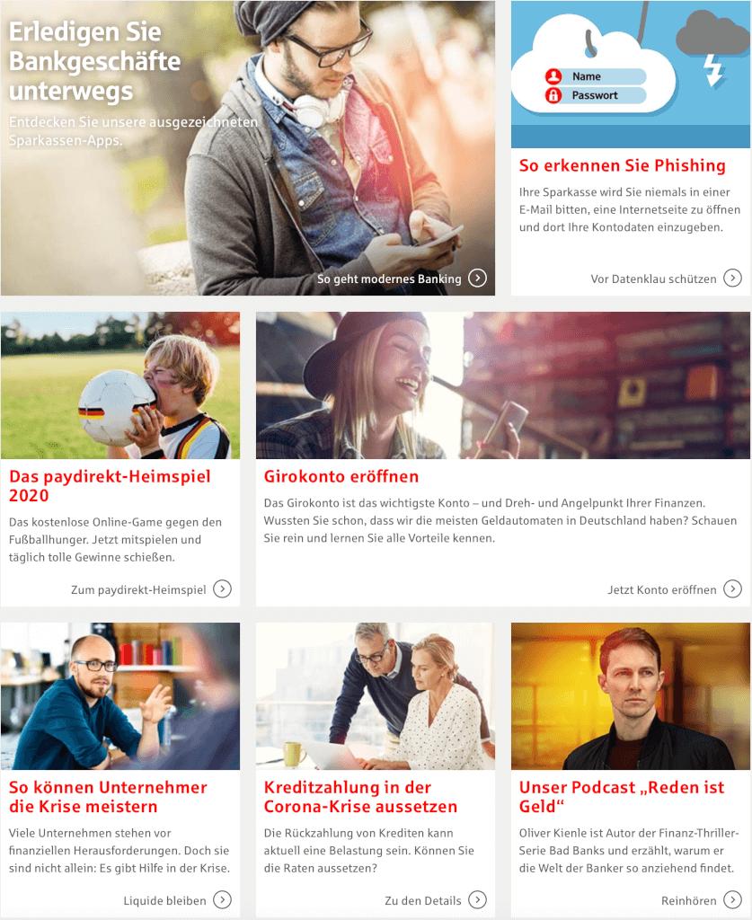 Sparkasse Website, wo es so aussieht als ob sie Adobe Stock Bilder verwenden