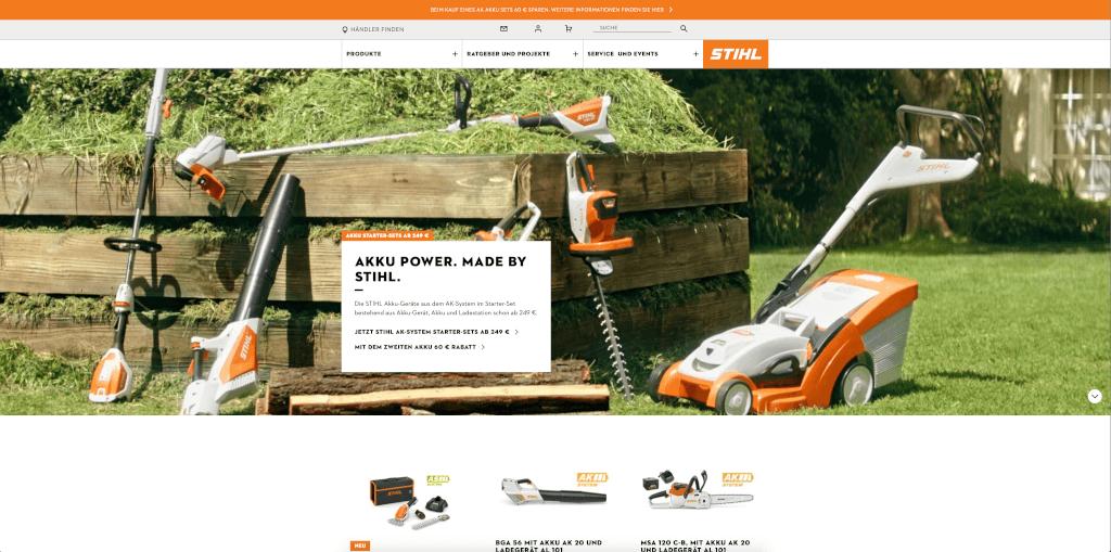 Gute Bildauswahl auf der Website von Stihl