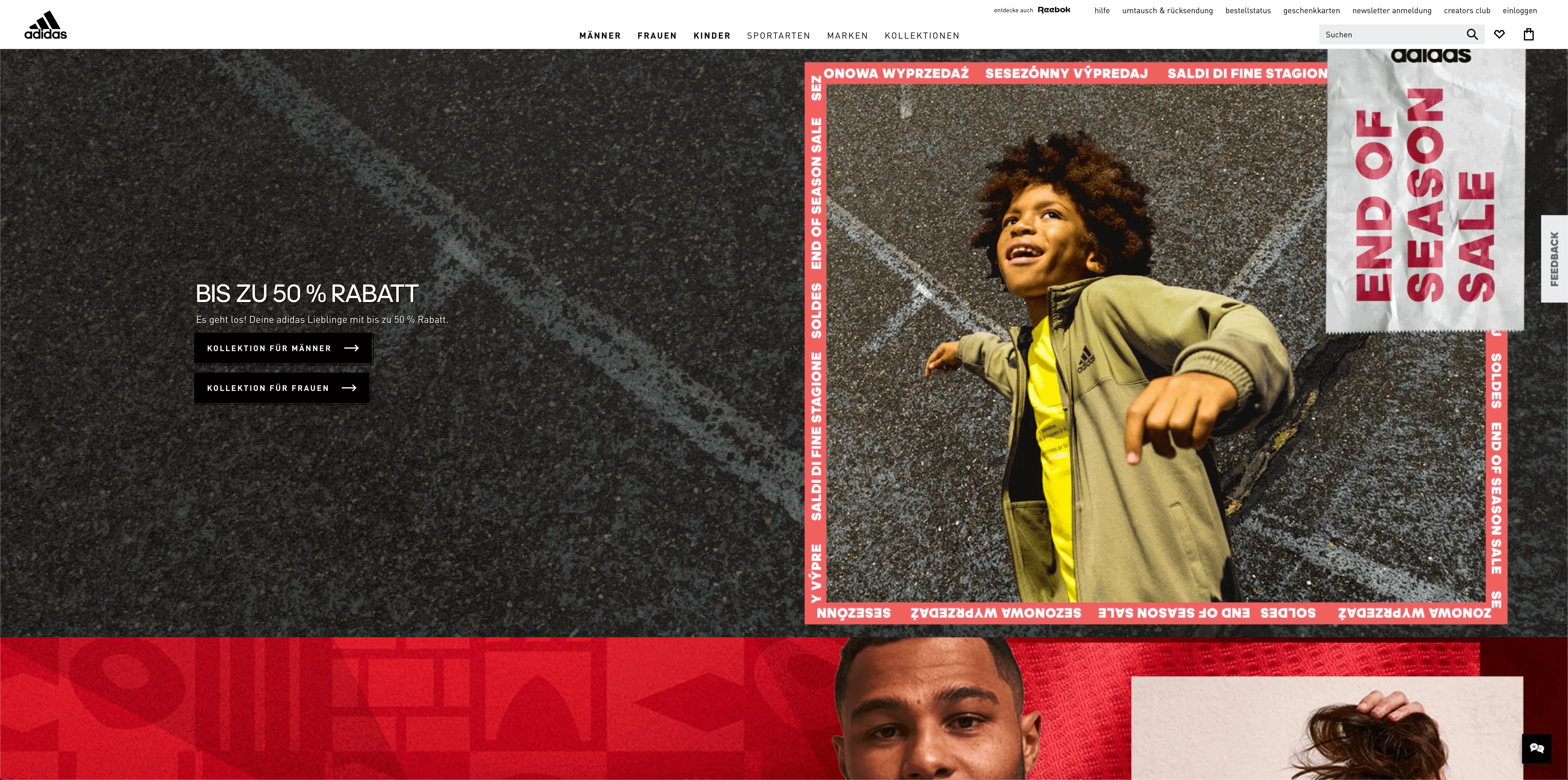 Präsentation von Menschen auf Adidas.de