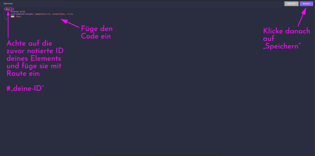Chimpify CSS Code letzter Schritt