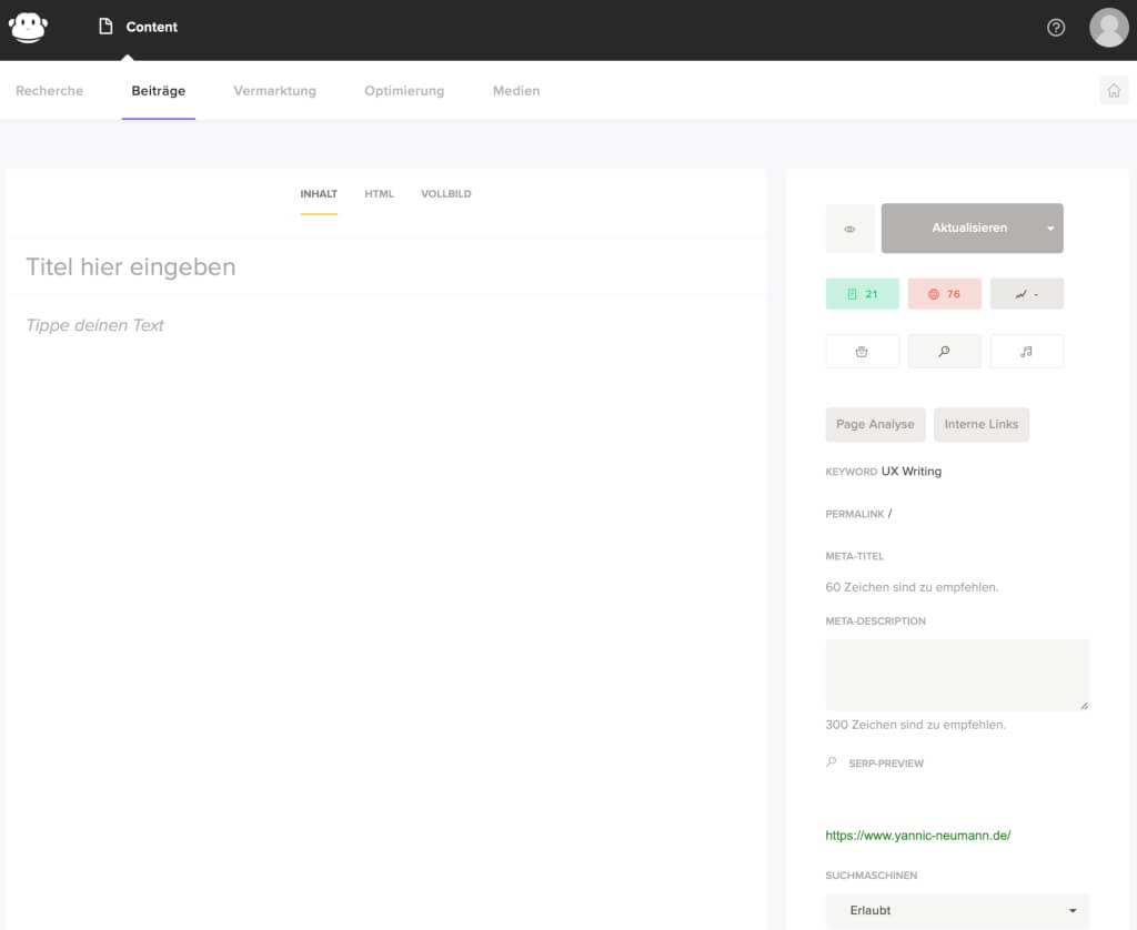 Gast Blogging Editor Interface
