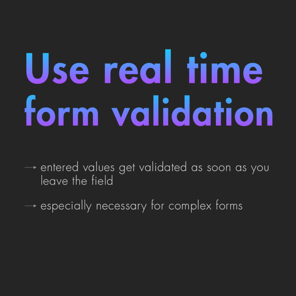 "Zweite Slide mit dem text: ""Use real time form validation"""