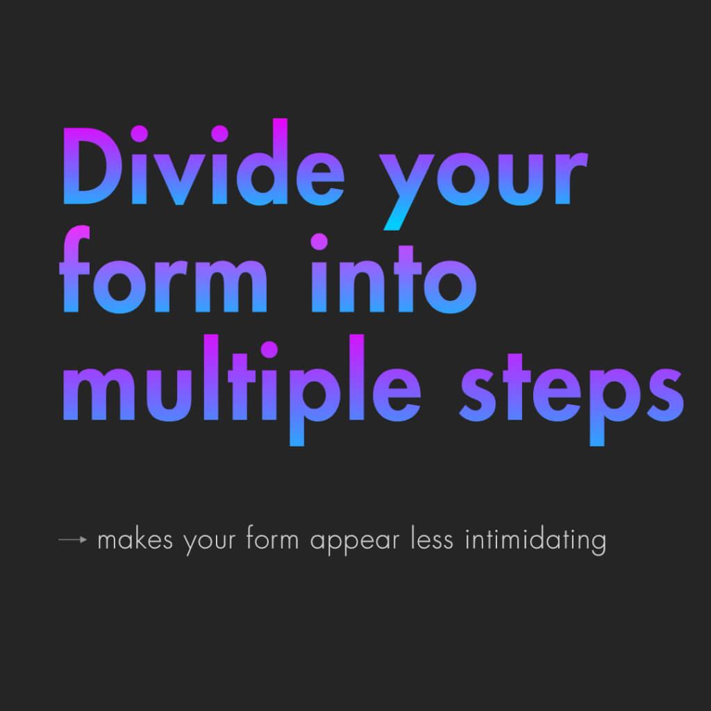 """Sechste Slide mit dem Titel: """"Divide your form into multiple steps"""""""
