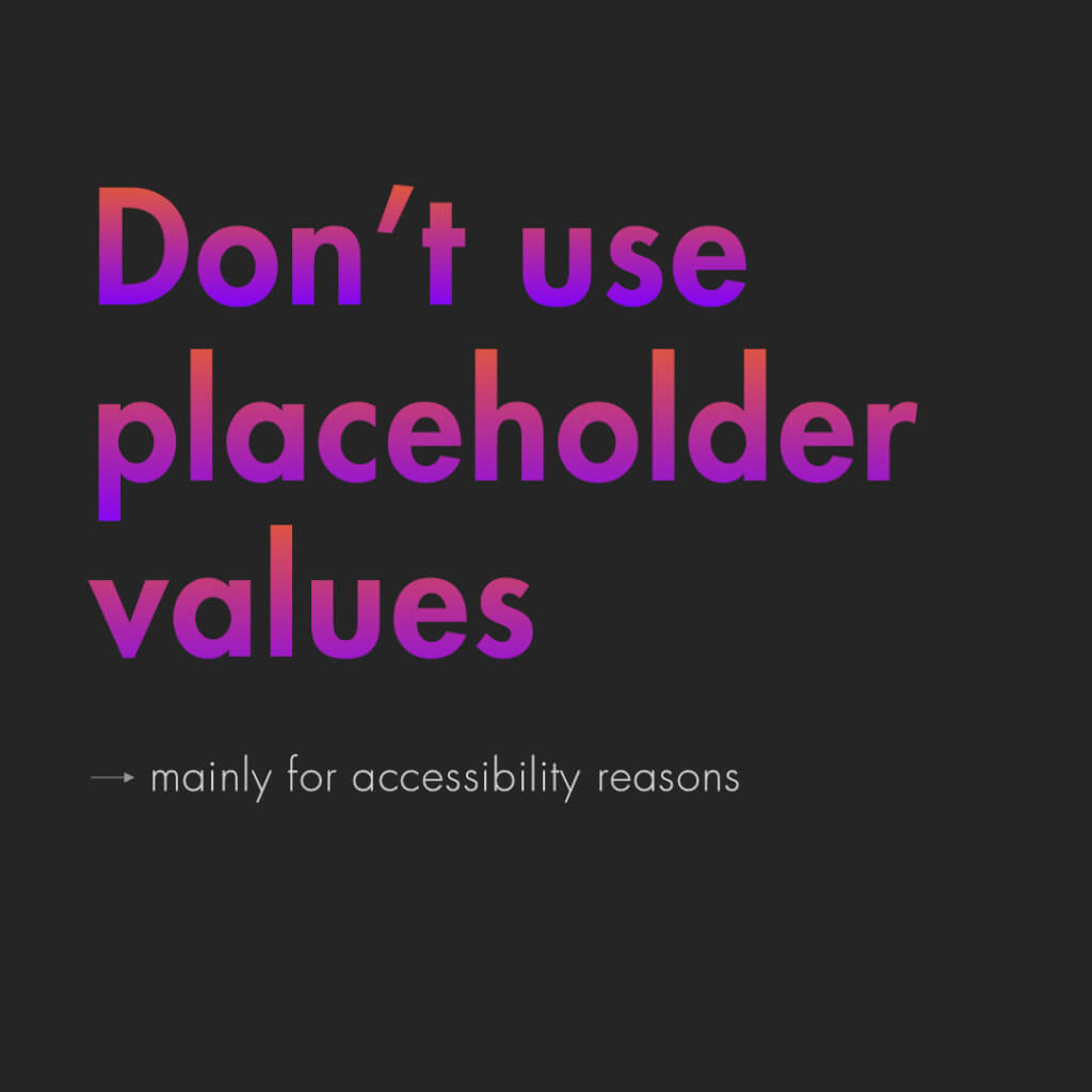 "Neunte Slide mit dem Titel: ""Don't use placeholder values"""