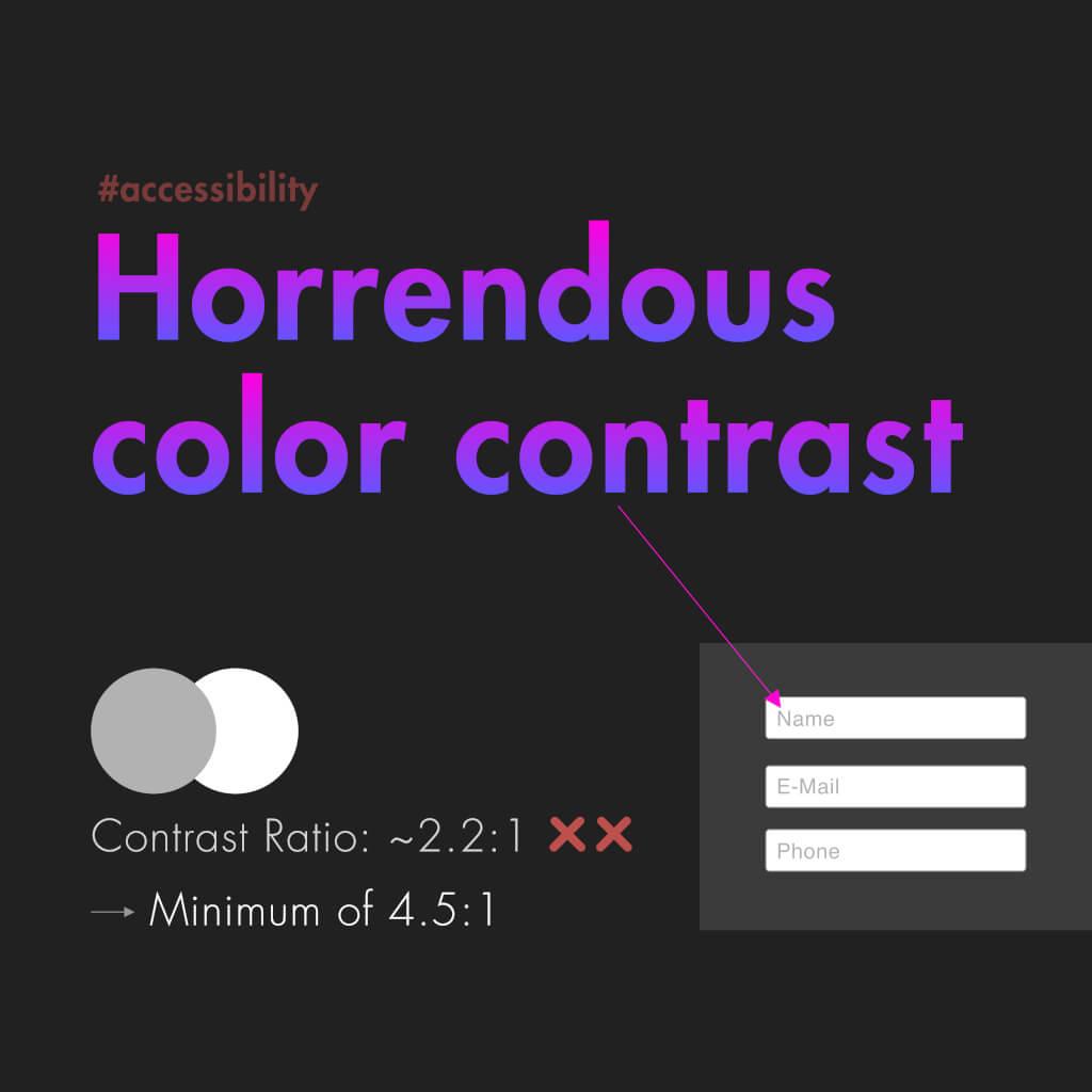 """Dritte Slide mit dem Titel: """"Horrendous Color Contrast"""""""