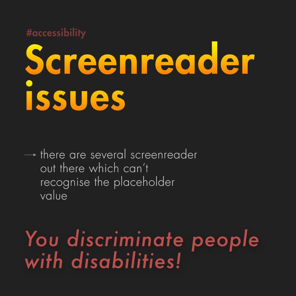 """Fünfte Slide mit dem Titel: """"Screenreader issues"""""""