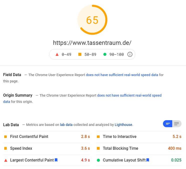 SEO Analyse Core Web Vitals tassentraum.de