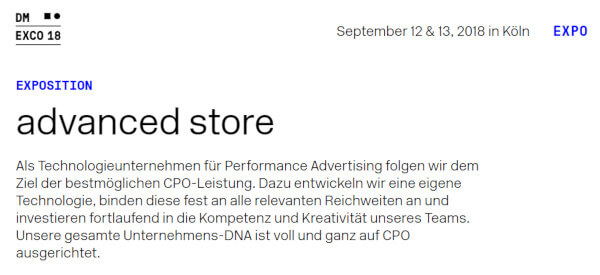 advanced store dmexco