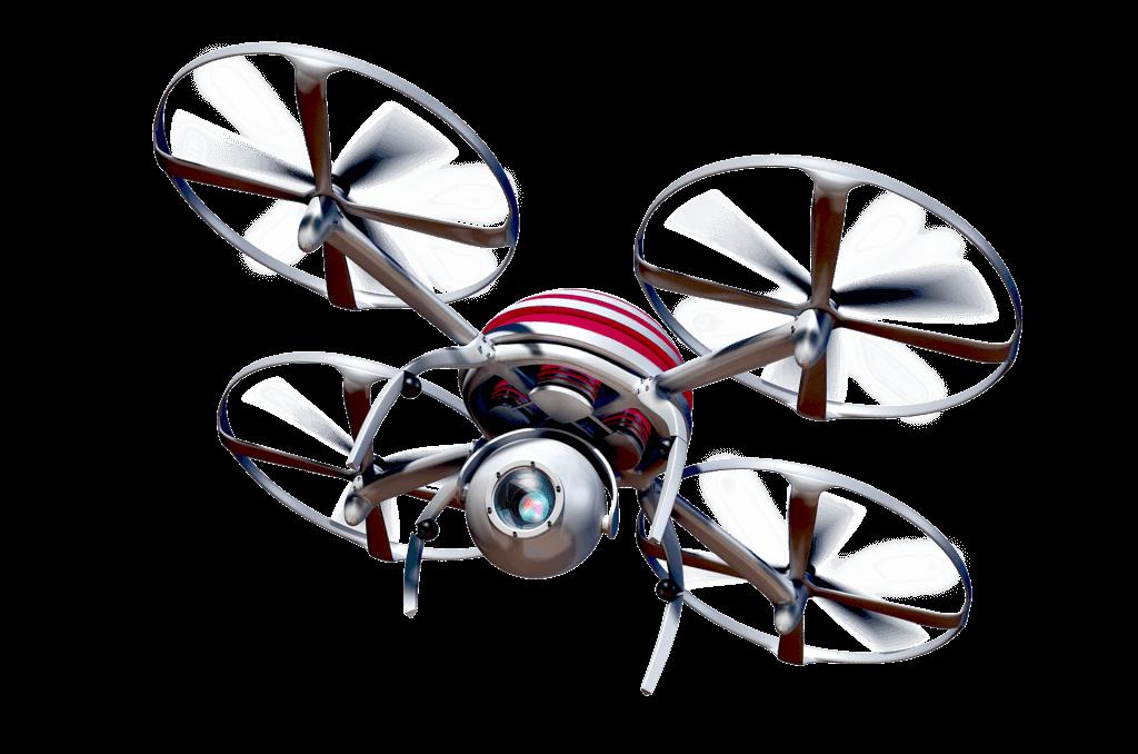 Drohne vor weißem Hintergrund