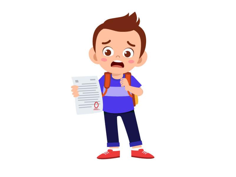 Selbstbewusstsein des Kindes bei einer schlechten Note