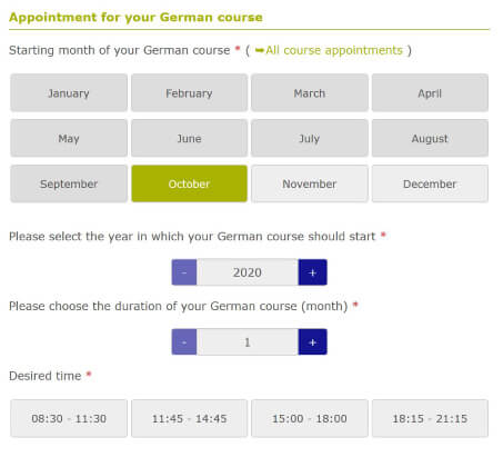 Choose your appointment of the german course Deutschakademie
