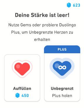 Duolingo Herzen aufuellen