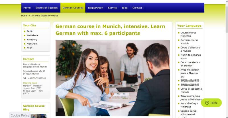 German Course intensive Munich in house DeutschAkademie