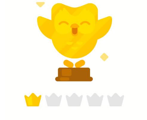Level und Kronen bei Duolingo