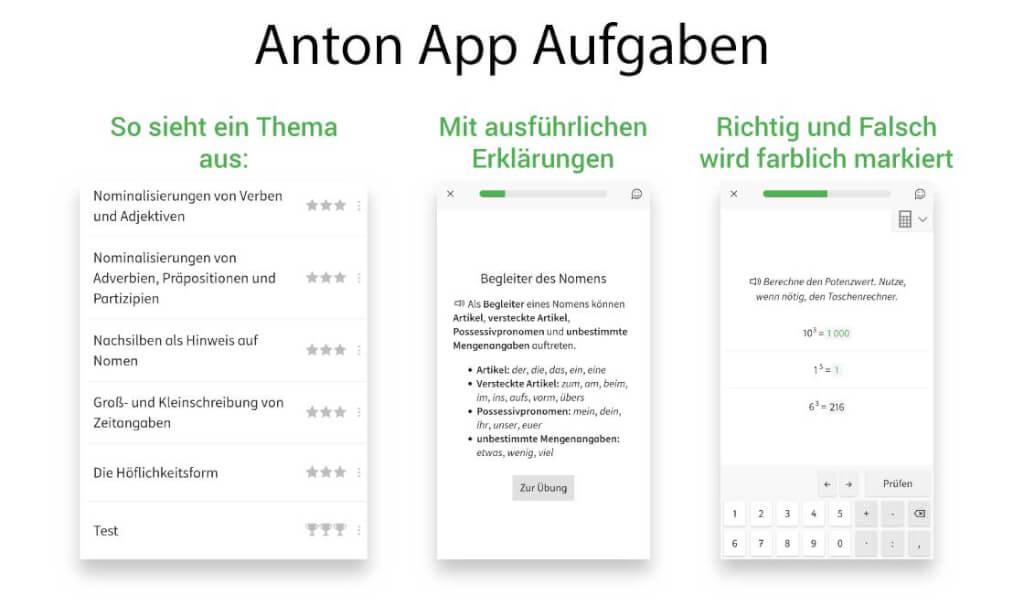 Anton App Aufgaben