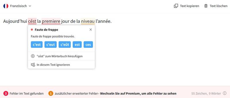 Language Tool für Französsisch einsetzen