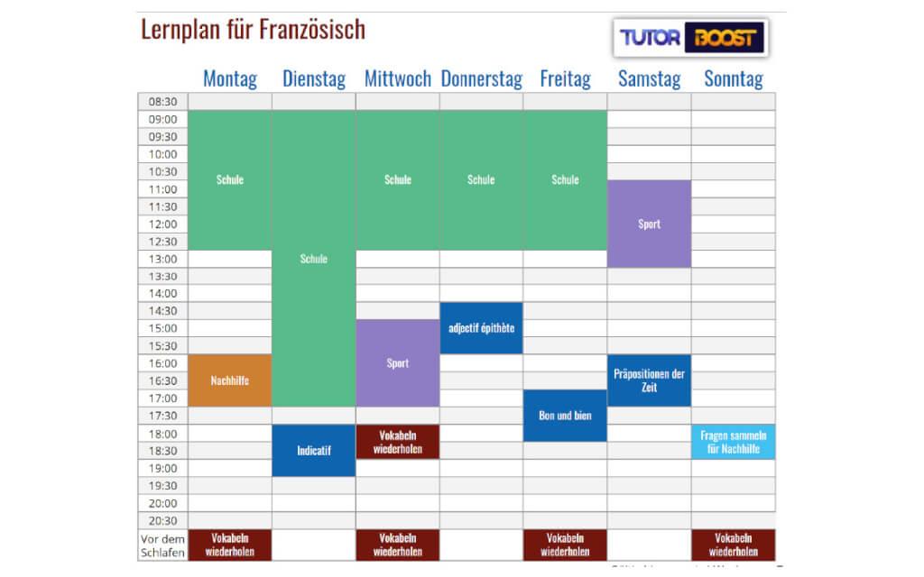 Lernplan fuer Franzoesisch