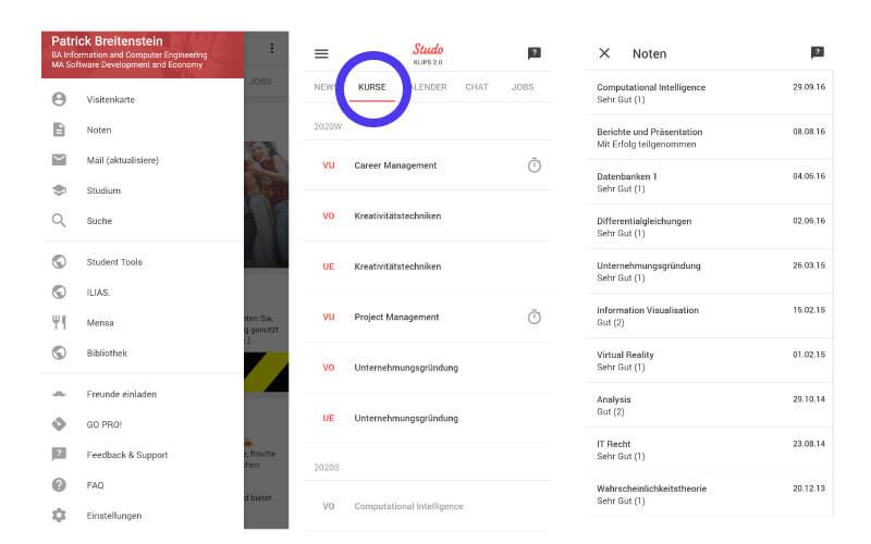 Studo App Noten und Kurse