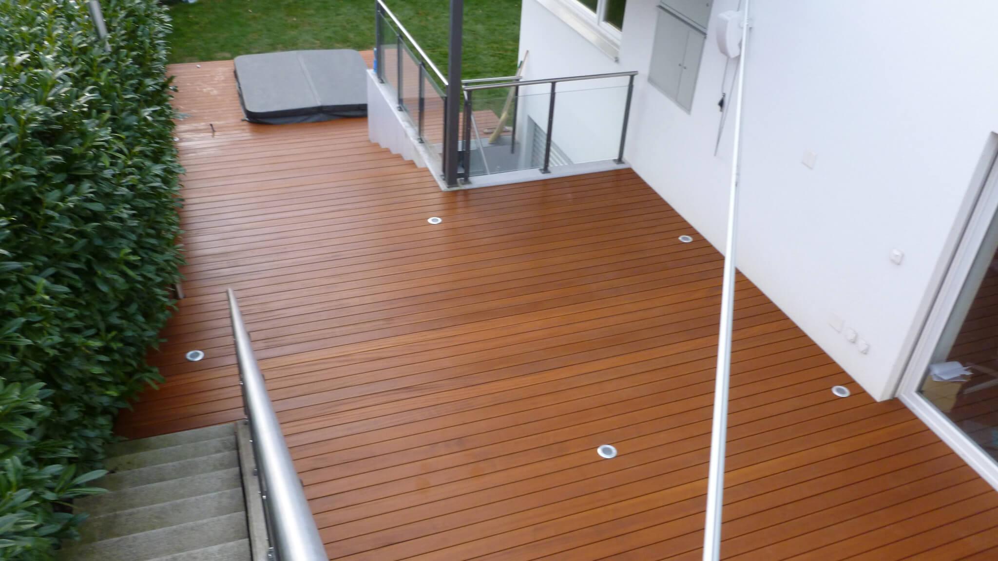 Sipo Terrassendielen Formare Holzterrasse mit Stufen