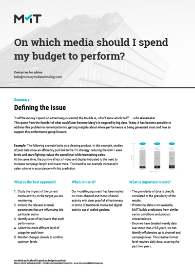 On which media should I spend my budget to perform?