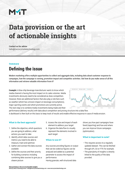 Data provision or the art of actionable insights